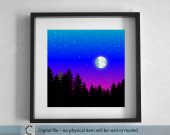 Printable blue night winter landscape. Full moon over the forest. large Wall Art. 50x50 cm Printable Landscape.