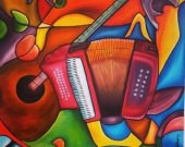Oil on canvas. Original painting by Carlos Duque. Sounds of Colombia