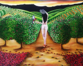 Oil on canvas. Coffee plantation women. Original painting by Carlos Duque