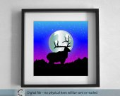 Printable blue landscape. Elk silhouette. Night in the forest. large Wall Art. 50x50 cm Printable Landscape. Best gift.