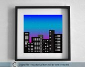 Printable cityscape blue illustration. Christmas winter landscape. large Wall Art 50x50 cm. Printable Landscape.