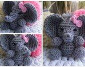 Elephant amigurumi keychain and bag charm,baby girl elephant keychain and bag charm