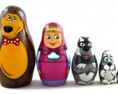 Matryoshka Matreshka Russian Nesting Doll Babushka Masha and the Bear Set 5 Pieces