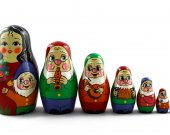 Matryoshka Matrioshka Russian Nesting Doll Babushka Fairy Tale Fairytales Biancaneve Belosnezhka Snow White Dwarfs Gnomes Set 7 Pieces