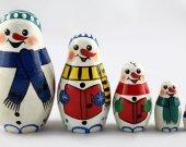 Matryoshka Matreshka Russian Nesting Doll Babushka Snowman Snowmen Set 5 Pieces