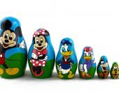 Matryoshka Russian Nesting Doll Babushka Cartoon Characters Mickey Minnie Mouse Donald Duck Goofy Pluto Set 7 Pc Matrioshka Wooden Stacking