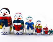 Matryoshka Russian Nesting Doll Babushka Snowmen Snow Man Set 7 Pc Matrioshka Wooden Stacking