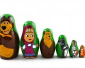 Matryoshka Matrioshka Russian Nesting Doll Babushka Masha and the Bear Characters Set 7 Pieces