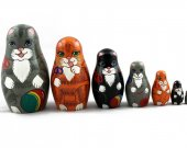 Matryoshka Matrioshka Russian Nesting Doll Babushka Kittens Cte Cat Kitty Set 7 Pieces