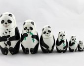 Matryoshka Matrioshka Russian Nesting Doll Babushka Panda Family Set 7 Pieces