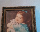 Girl with Kitty. Based on XIX century paint. Unique. No one such in the world. High Quality Hand Made product.