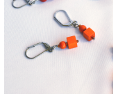 Handmade orange earrings, vintage pumpkin orange wood beads
