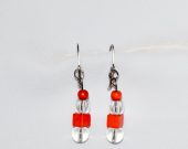Handmade orange earrings with vintage pumpkin orange wood and clear glass beads