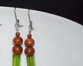Handmade earrings vintage brown wood beads and green crystal