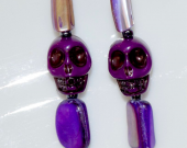 Handmade purple earrings, Day of the Dead skull with mother of pearl