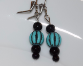 Handmade black & turquoise earrings with turquoise colored barrel beads and black onyx beads
