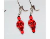 Handmade red earrings, skull bead, vintage wood and black seed beads