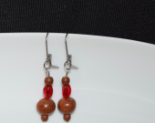 Handmade wood earrings with vintage brown wood and red glass beads
