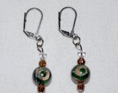 Handmade earrings with mixed gemstone bead and brown and clear crystals