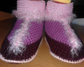 Womens slippers crocheted from woolen yarn
