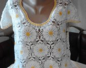"Womens Tunic ""Camomile Field"" made of cotton yarn size 14-16"