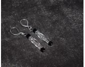 Handmade sparkling earrings with clear and black glass beads