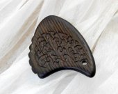 Wooden guitar pick with Urushi - japanese lacquer, Wenge exotic wood plectrum