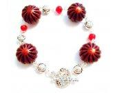 "Carnelian Gemstone Bracelet, Burgundy Bracelet, Rosette Jewelry, Floral Bracelet, Toggle Bracelet, Red Bracelet, Valentine""s Day, For Her"