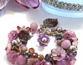 Flower Beaded Bracelet, Gemstone Beaded Bracelet, Purple Bracelet, Charm Bracelet, Flower Gemstone Bracelet, Lavender Jade Pearl Bracelet