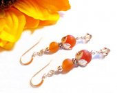 Carnelian Gemstone Earrings, Carnelian Silver Earrings, Carnelian Stone, Carnelian Beads, Holiday Gift, Mid Century Sterling Silver Earrings