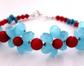 Blue Frost Bracelet, Floral Bracelet, Flower Bracelet, Coral Bracelet, Turquoise Nugget Bracelet, Red and Blue Bracelet, Tropical Color