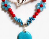 Floral Necklace, Red Blue Turquoise Necklace, Woven Crystal Blue Nugget Coral Necklace, Tropical Frost Blue Beaded Necklace, Gift for Mom