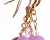 Lavender Jade Earrings,  Crystal Earrings, Gold Earrings, Dangle Earrings, Faceted Beads Earrings, Light Purple Beads, Gift for Bridesmaid
