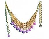 Gold Bib Necklace, Bib Necklace, Lavender Necklace, Light Purple Necklace, Chain Necklace, Gemstone Necklace, Gold Necklace, Modern Jewelry