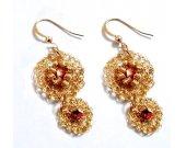 Crocheted Earrings Mesh Gold Earrings, Gold Crystal Earrings, Dangle Earrings, Floral Earrings,  Beaded Earrings, Gift for Mom, Gift For Her
