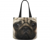 Canvas tote bag pug design