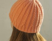 Knitted hat peach color