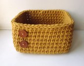 square basket mustard color