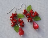 Dangle long red flower earrings with pearls
