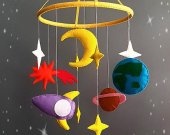 space Nursery mobile Baby Felt crib mobile Cot mobile Hanging crib mobile Boy mobile Girl mobile New baby gift