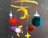 space Nursery mobile Baby Felt crib mobile Cot mobile Hanging crib mobile Boy mobile Girl mobile New baby gift