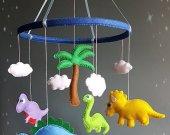 Dinosaur baby crib mobile Nursery decor Felt mobile Hanging mobile Baby shower gift Baby boy mobile Baby girl mobile