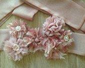 Dusty pink flower wedding sash, baby shower sash, flower belt, pregnancy sash, shabby chic roses, photo sash, flower girl sash, bridal sash