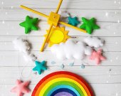 Rainbow baby mobile sun clouds mobile baby boy mobile handmade mobile baby girl mobile baby shower mobile nursery mobile