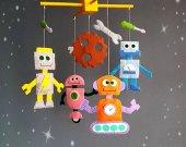 Robots baby crib mobile Nursery monster mobile Aliens mobile Handmade Felt mobile New baby gift mobile Boy mobile Girl mobile Cot mobile