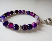 Purple Striped Agate 8mm Round Bead Stretch Bracelet Handmade Natural Healing