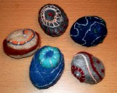 5 Feledt Stones, Zen Pebbles decorated with beads needle felted