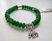 Natural 8mm faceted Emerald - Tibetan Silver - Stretch Bracelet - Boho Bracelet - Healing Bracelet - Harmony and Balance