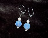 Handmade white earrings, translucent glass disc accented by opaque white glass beads