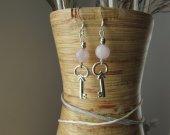Silver Key & Rose quartz earrings.